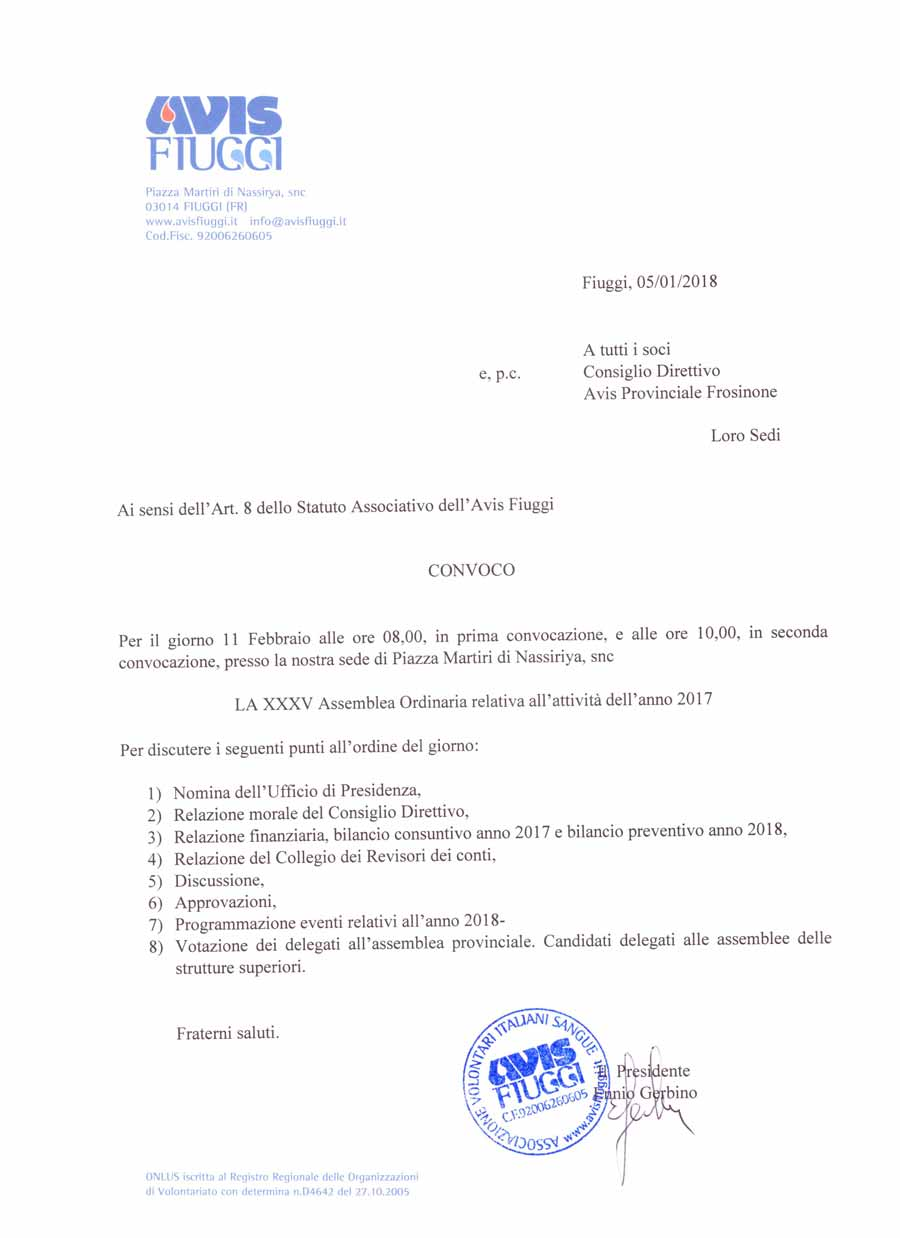 Avis Fiuggi Convocazione Assemblea 2018